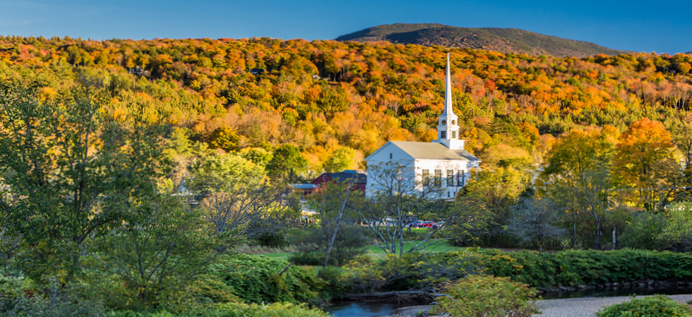 Vermont Church with Fall Colors