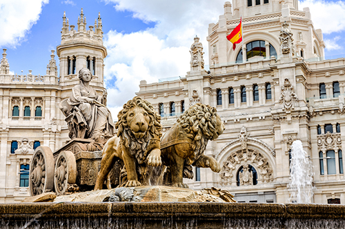 Lions on Fountain in Madrid
