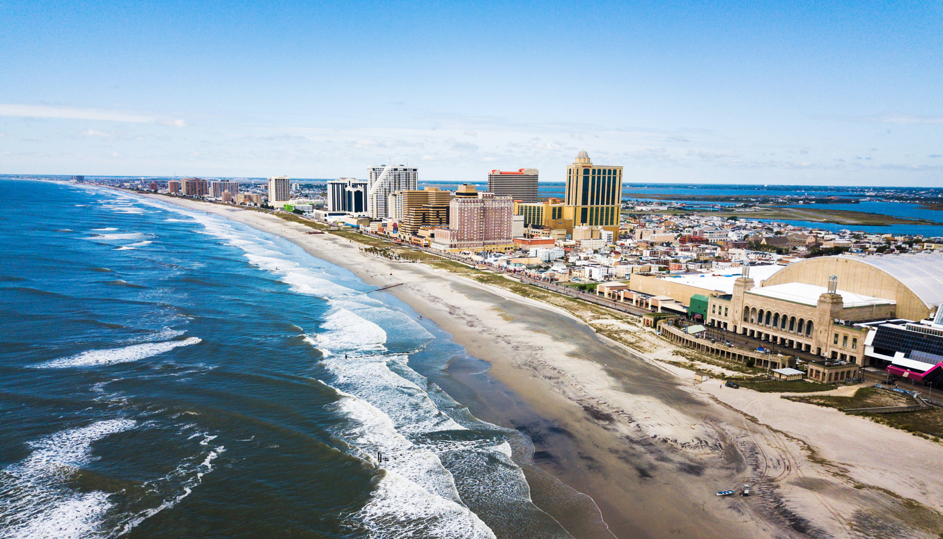 Atlantic city waterline aerial