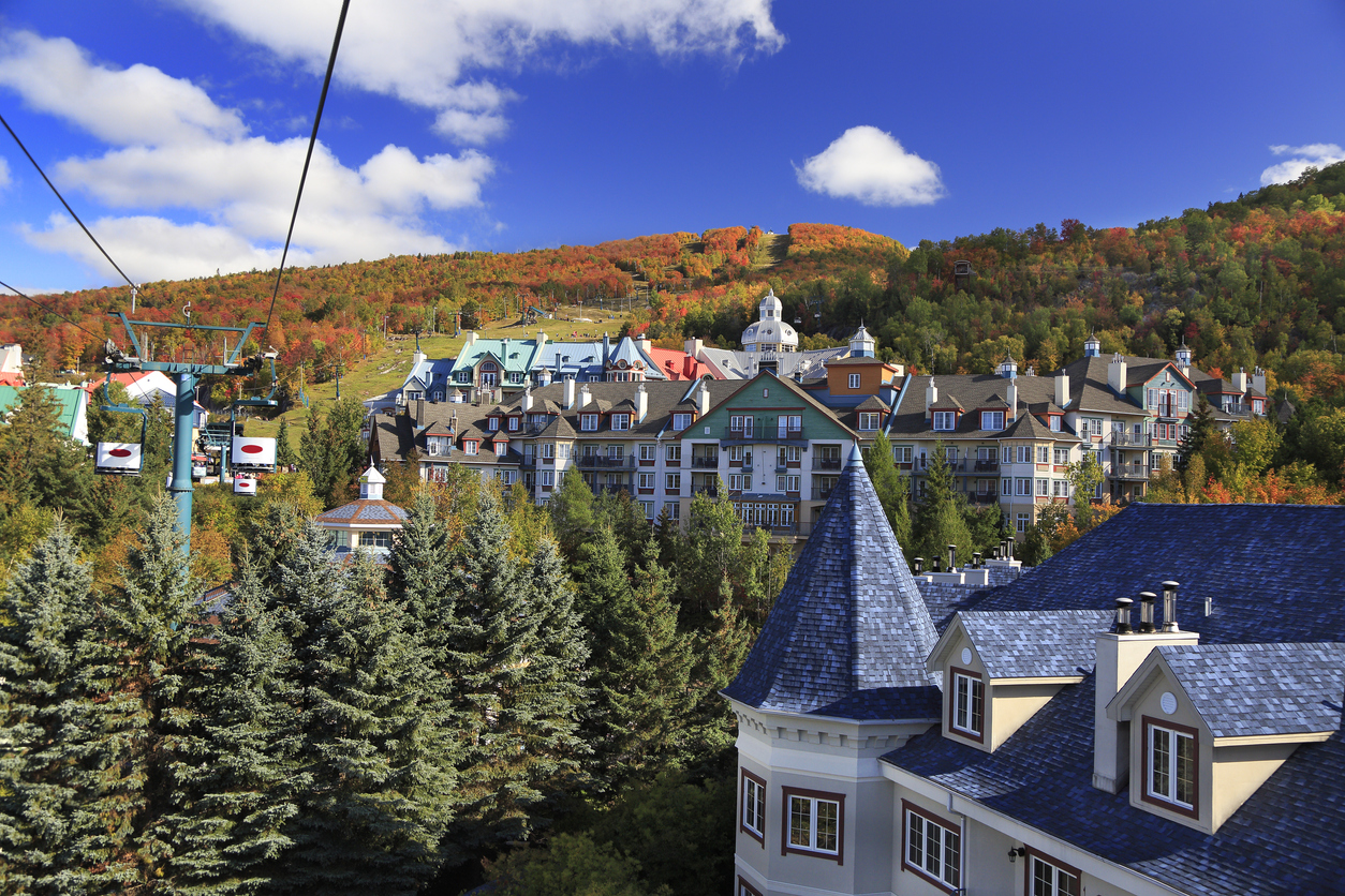Aerial view of Mont Tremblant in autumn, Quebec