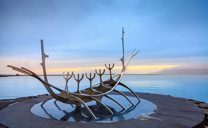 REYKJAVIK, ICELAND - AUGUST 31, 2013: Sun Voyager (Solfar) sculp