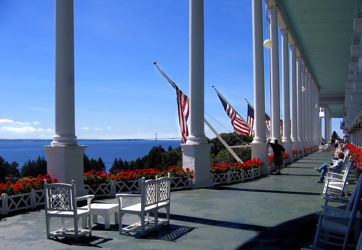Vast front porch of the Grand Hotel