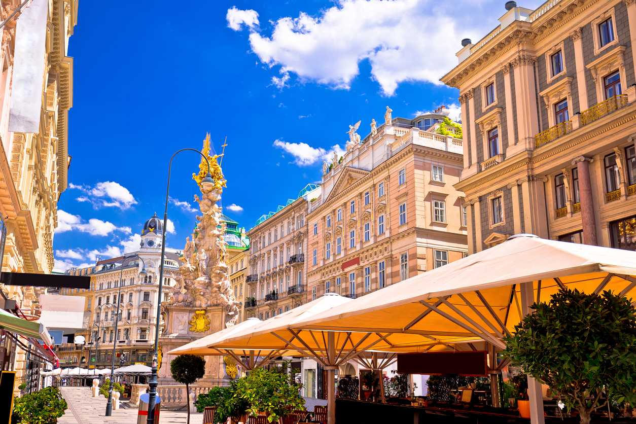 Historic architecture square in Vienna view, capital of Austria